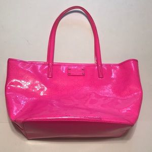 Neon pink patent shiny heart Kate spade bag